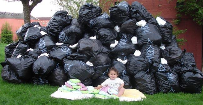 Müll Wegwerfwindeln gegenüber Ausstattung Stoffwindeln